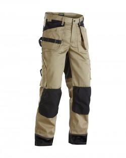 Pantalon artisan bicolore beige/noir