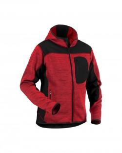Veste tricotée à capuche Rouge/Noir