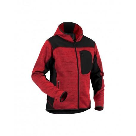 Veste tricotée à capuche Rouge Noir - Blackshop.fr 9c8fe6dce906