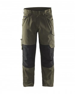 Pantalon services +stretch Blåkläder vert-olive/noir