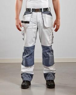 Pantalon artisan bicolore poches libres blanc/gris