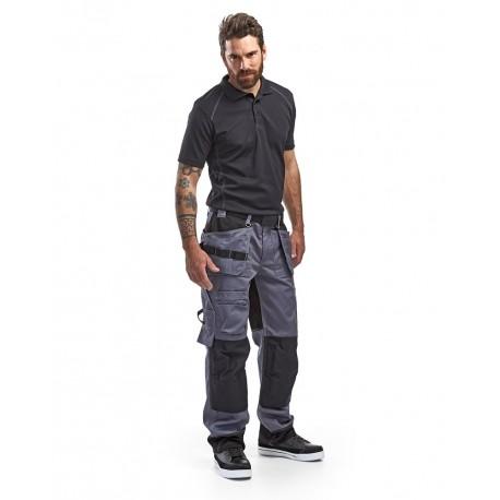 Pantalon artisan bicolore poches libres gris/noir