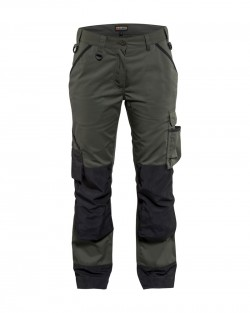 Pantalon paysagiste femme vert armée/noir