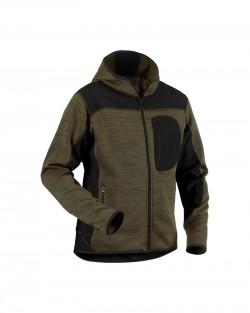 Veste tricotée à capuche vert armée/noir