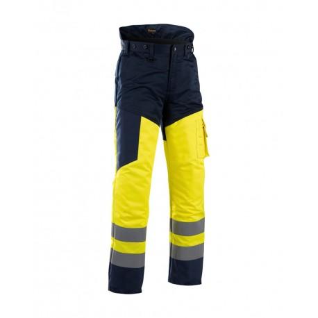 Pantalon tronçonneuse haute visibilité jeune/marine