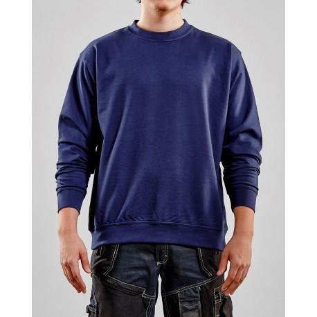 Sweatshirt col rond bas resséré marine