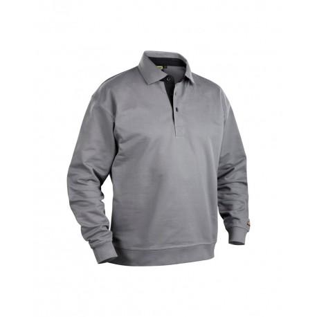 Sweatshirt col polo gris