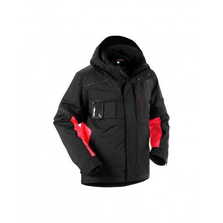 Veste à capuche Hiver stretch noir/rouge