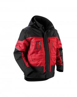 Veste à capuche Hiver rouge/noir