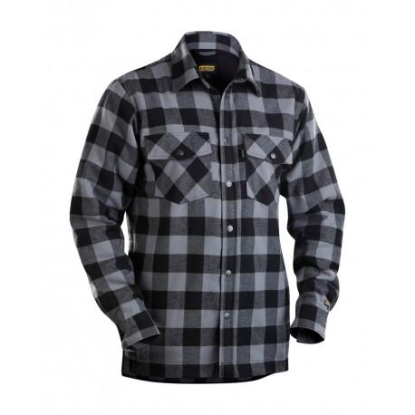 Chemise Flannelle doublée gris anthracite/noir