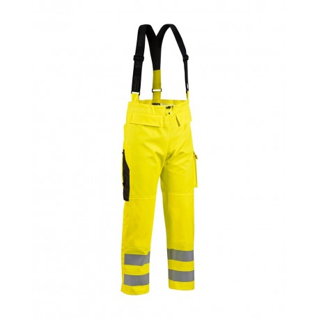 Pantalon de pluie à bretelles jaune