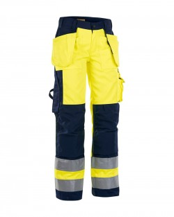 Pantalon artisan femme haute visibilité jaune/marine