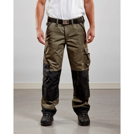 Pantalon paysagiste vert armée/noir