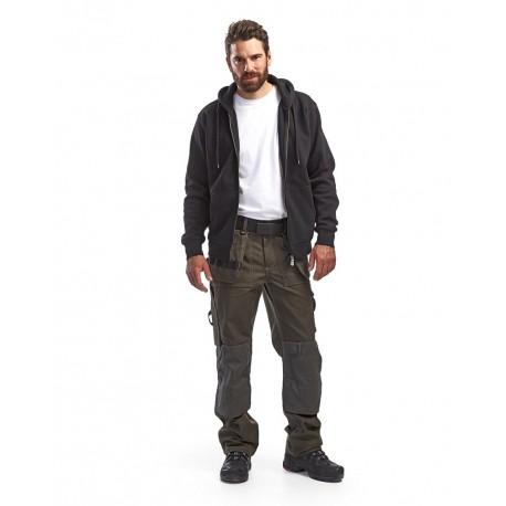 Pantalon Artisan poches libres vert olive / noir