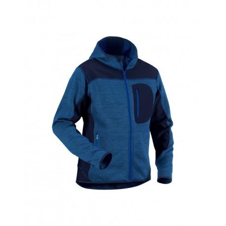 Veste tricotée à capuche marine/marine