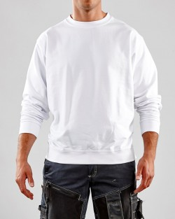 Sweatshirt col rond bas resséré blanc
