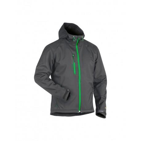 Veste Softshell à capuche Gris Foncé/Vert