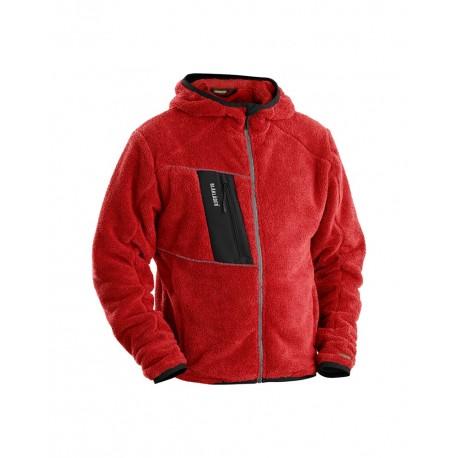 Veste à capuche en moumoute rouge
