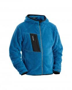 Veste à capuche en moumoute bleu