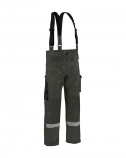 Pantalon de pluie à bretelles vert armée